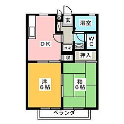 愛知県岡崎市矢作町字金谷の賃貸アパートの間取り