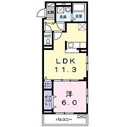 つくばエクスプレス 柏たなか駅 徒歩8分の賃貸アパート 3階1LDKの間取り