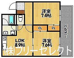 福岡県福岡市博多区麦野4丁目の賃貸マンションの間取り