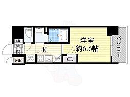 プレサンス上町台筆ヶ崎 NORTH 7階1Kの間取り
