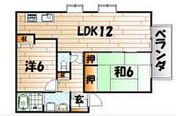福岡県北九州市小倉南区中曽根4の賃貸アパートの間取り