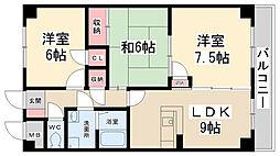 兵庫県伊丹市荒牧5丁目の賃貸マンションの間取り