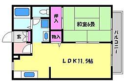 兵庫県芦屋市春日町の賃貸アパートの間取り
