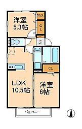 千葉県松戸市二十世紀が丘丸山町の賃貸アパートの間取り