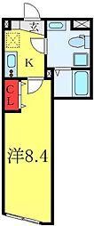 都営三田線 板橋区役所前駅 徒歩2分の賃貸マンション 3階1Kの間取り