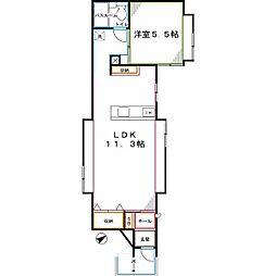 JR中央本線 国立駅 徒歩8分の賃貸アパート 2階1LDKの間取り