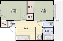 サンハイツA棟[1階]の間取り
