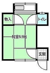 東京メトロ有楽町線 要町駅 徒歩6分の賃貸アパート 2階ワンルームの間取り