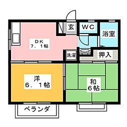 メンバーズタウン南小泉B[2階]の間取り