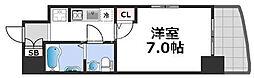 セレニテ桜川駅前プリエ 15階1Kの間取り