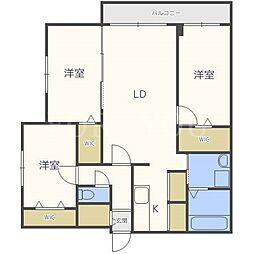 北海道札幌市中央区南二十条西13丁目の賃貸マンションの間取り