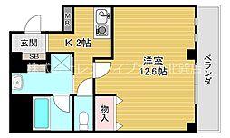 セゾンラトゥール桃谷 8階1Kの間取り