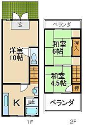 [テラスハウス] 大阪府枚方市茄子作1丁目 の賃貸【/】の間取り