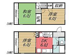 [テラスハウス] 千葉県市原市東五所 の賃貸【/】の間取り