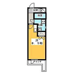 Libra神宮南 2階ワンルームの間取り