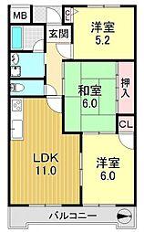 メゾンリリアール弐番館[5O2号室号室]の間取り