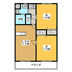 ラフォーレ駒形[2階]の間取り