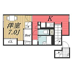 JR成田線 成田空港駅 バス14分 三里塚下車 徒歩19分の賃貸アパート 2階1Kの間取り
