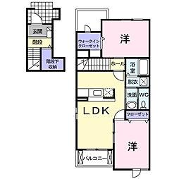 ボンヌ・シャンス・ガーデンA[2階]の間取り