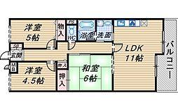 ライオンズマンション曽根長興寺[202号室]の間取り