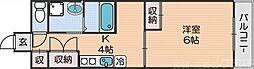 シーガルマンションII 2階1Kの間取り