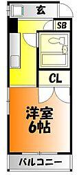岡山県岡山市北区東中央町の賃貸マンションの間取り