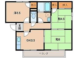 エバンジェル高松A棟[2階]の間取り