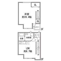 JR山手線 西日暮里駅 徒歩8分の賃貸アパート 3階1LDKの間取り
