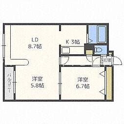 ホークメゾン札幌3号館[3階]の間取り