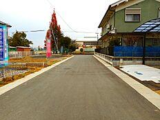 分譲地内ですので車通りが少なく静かな環境です(2017年12月初旬撮影)