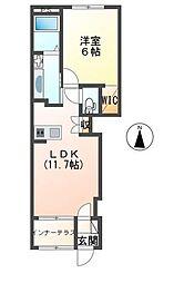 仮)阿見町よしわら1丁目新築アパート 1階1LDKの間取り