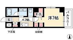 L'Allure 9階ワンルームの間取り