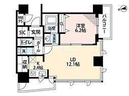ベルファース大阪新町 4階1LDKの間取り