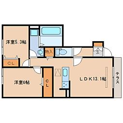 JR東海道本線 静岡駅 バス27分 千代一丁目下車 徒歩3分の賃貸アパート 1階2LDKの間取り