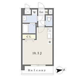 JR鹿児島本線 熊本駅 徒歩19分の賃貸マンション 2階ワンルームの間取り
