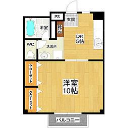 JR常磐線 土浦駅 徒歩15分の賃貸マンション 2階1DKの間取り