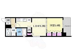 リーガル京都五条大宮 3階1LDKの間取り