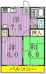 第五コーポ米倉[202号室]の間取り