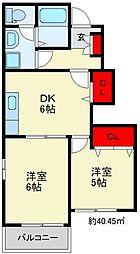 エムボヌール D棟 1階2DKの間取り