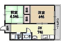 ラ・フォーレつるみ 2階2DKの間取り
