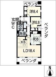 キャッスルハイツ中竹屋町[4階]の間取り