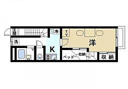 近鉄天理線 前栽駅 徒歩20分の賃貸アパート 2階1Kの間取り