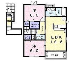 セゾンフローラ D[2階]の間取り