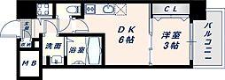 オリエンテム 10階1DKの間取り