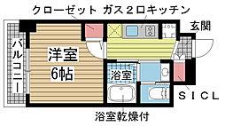 エステムコート神戸元町IIリザーブ 4階1Kの間取り
