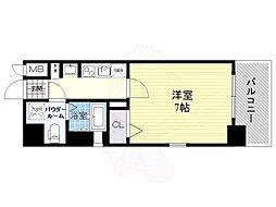 JR大阪環状線 野田駅 徒歩8分の賃貸マンション 4階1Kの間取り