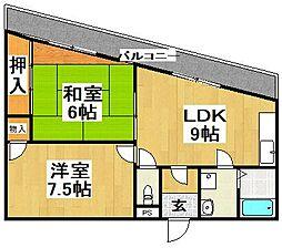 大阪府堺市美原区今井の賃貸マンションの間取り
