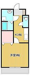 JR中央本線 竜王駅 徒歩22分の賃貸マンション 3階1Kの間取り