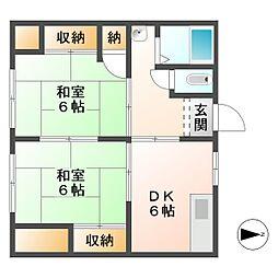 河端アパート[1F号室]の間取り