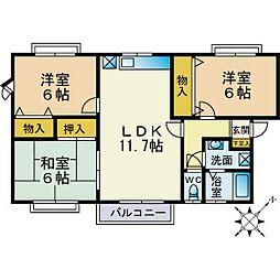 レインボーハウス青葉B[205号室]の間取り